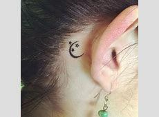 Crescent Moon Tattoo Behind Ear