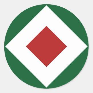 Green, White, Red Diamond Pattern Sticker