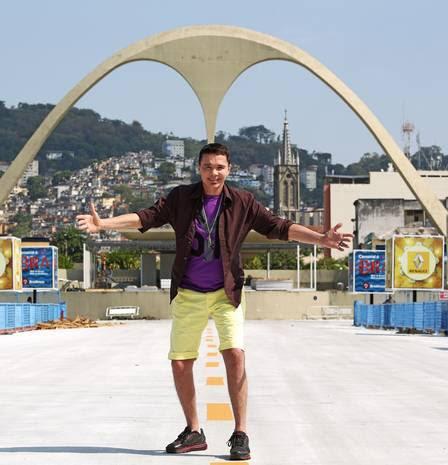 Netinho fez questão de conhecer o Sambódromo do Rio pela primeira vez