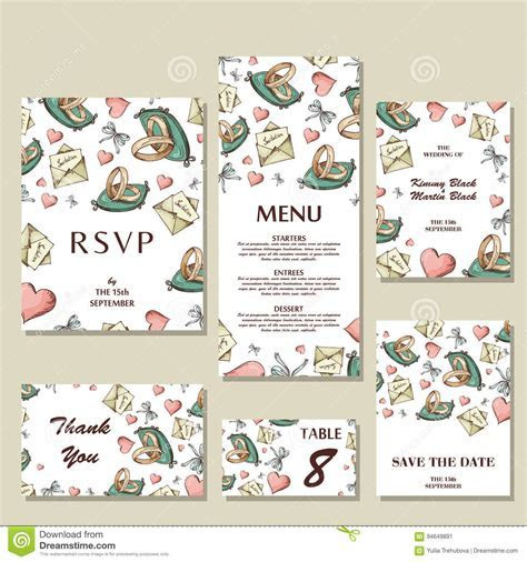 Set Of Wedding Invitations. Wedding Cards Template With