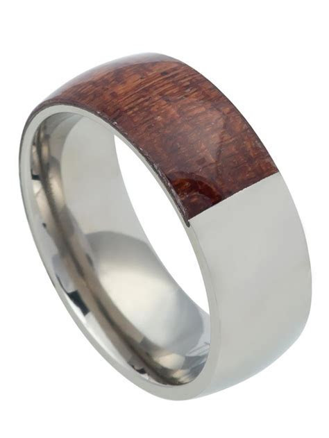 8mm White Titanium Mahogany Wood inlay Half and Half