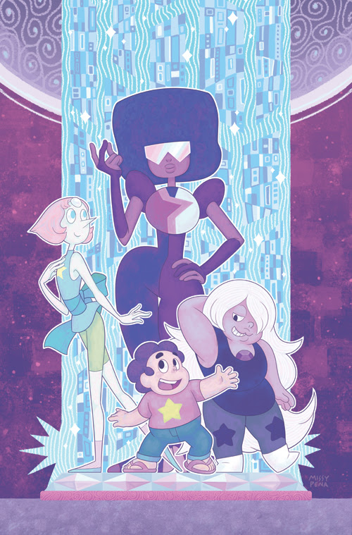 I'm so happy to finally share this! My favorite of the four covers I did for issue #1 of the new Steven Universe comic. It's extra special in person - parts of the background are covered in a spark...