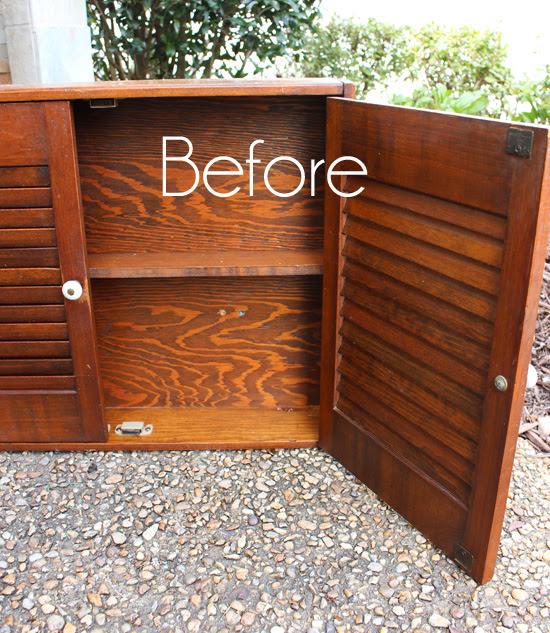 shutter cabinet before makeover