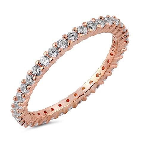 STACKABLE CZ Eternity Style Wedding Band Rose Gold Plated