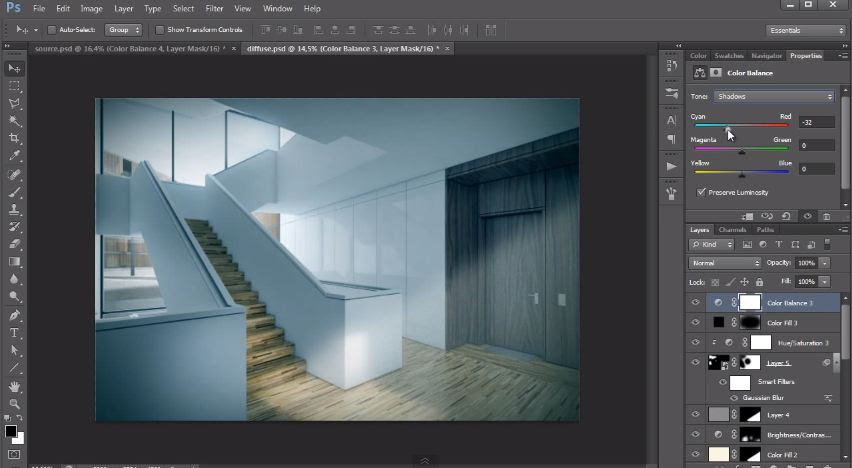 Interior Design Post Production Tutorial Photoshop Architectural