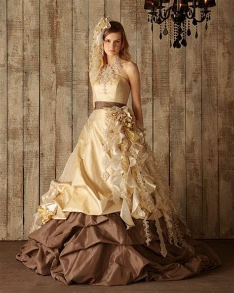 Chocolate Brown and Yellow Gold Wedding Dress   Available