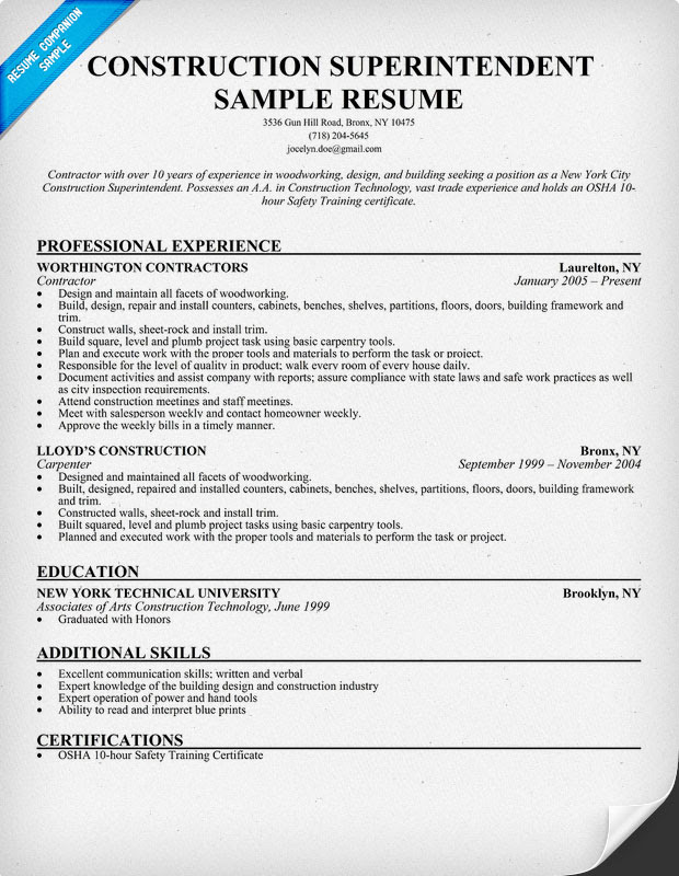 resume format  resume examples construction