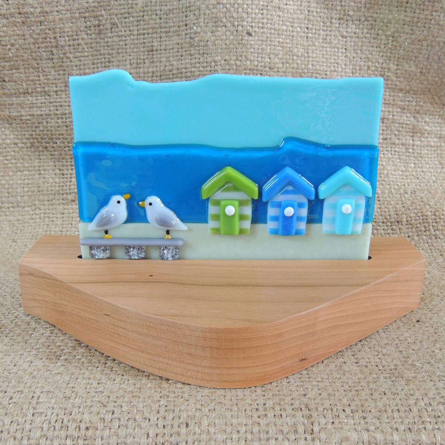 Handmade fused glass wood mounted beach scene by Fusenbeads