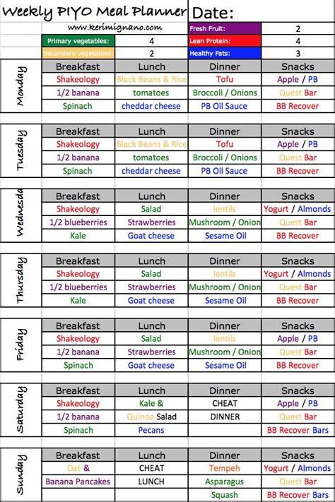 piyo meal plan  health yoga fitness  foodies