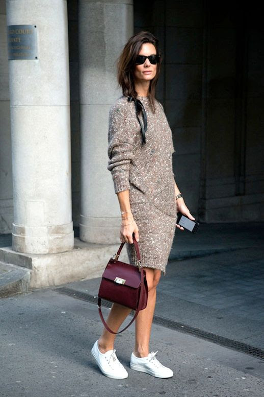 Le Fashion Blog Street Style Hedvig Opshaug Black Hair Ribbon Chunky Wool Blend Sweater Dress Burgundy Top Handle Bag White Sneakers Via Glamour