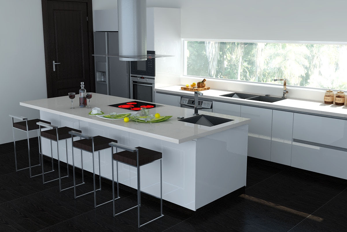 Black And White Kitchen Design Ideas likewise Modern White Kitchen