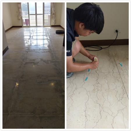 逾廿年沒有保養的石材地板不止光澤全失,還有局部的破洞裂痕,第一環衛石材美容專家細心的蹲在地板上檢查修補。