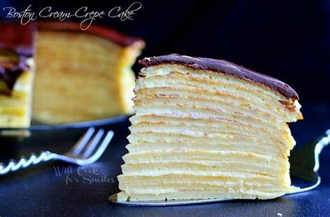 Boston Cream Crepe Cake   Recipe   Crepe cake, Boston