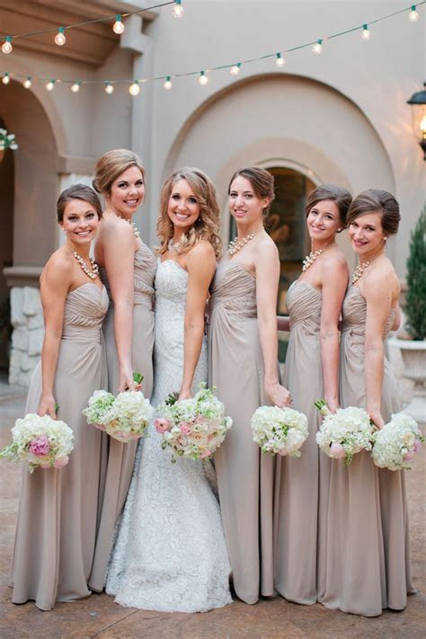Champagne bridesmaid dresses with blush and cream florals