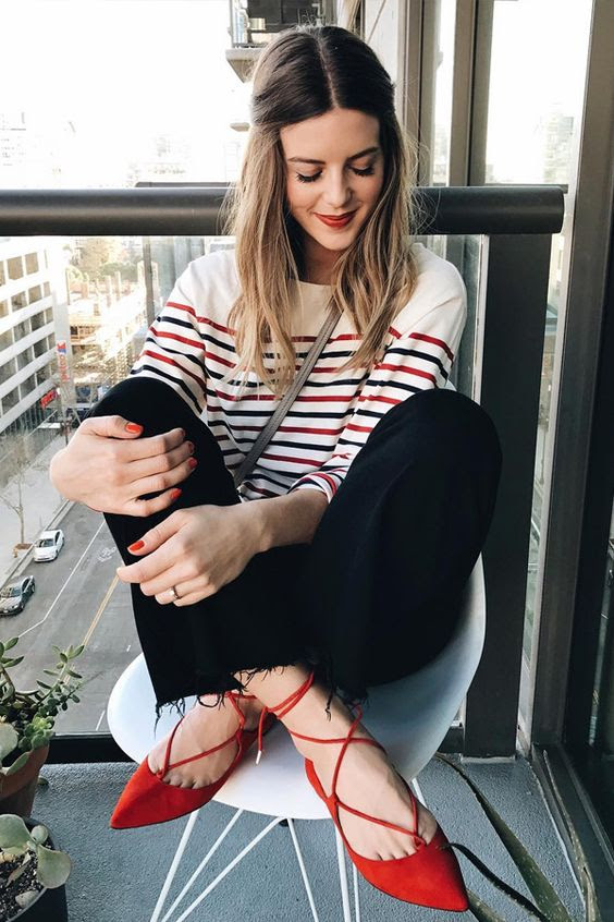 how to wear red shoes like a street style star » celebrity