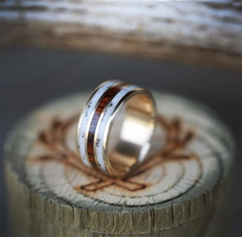 10K GOLD RING WITH DESERT IRONWOOD AND ANTLER INLAYS