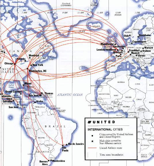 united airlines route map europe United Airline Flight Map   United Airlines and Travelling