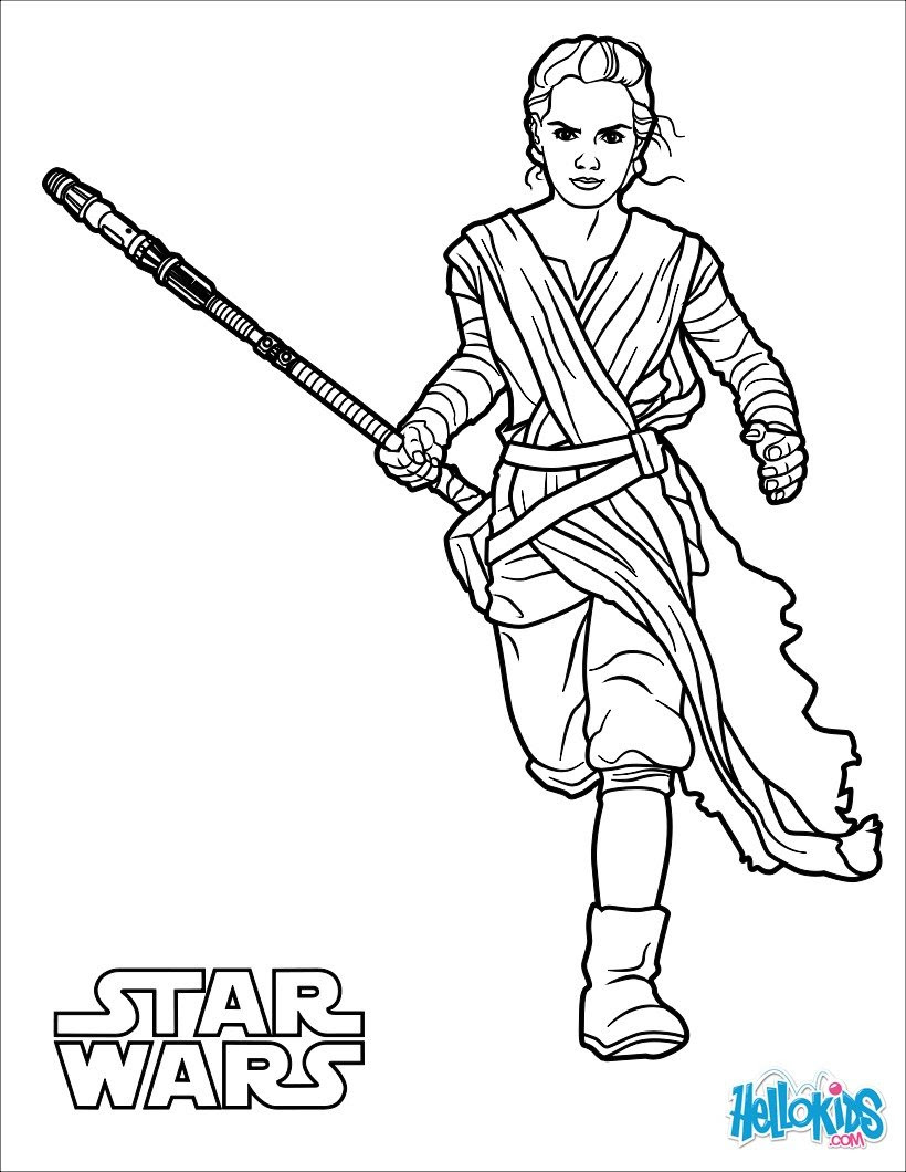 Rey The Force Awakens Coloring Pages Hellokidscom