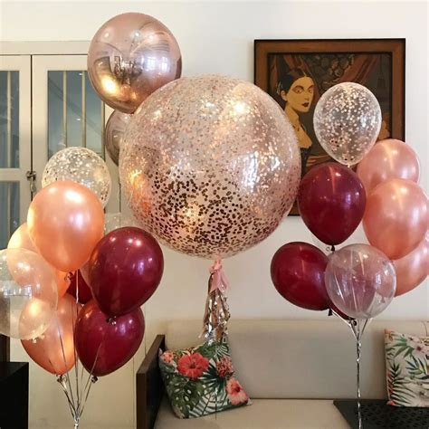 OutOfMyBubble. Rose Gold Balloons Confetti Bouquet Burgundy
