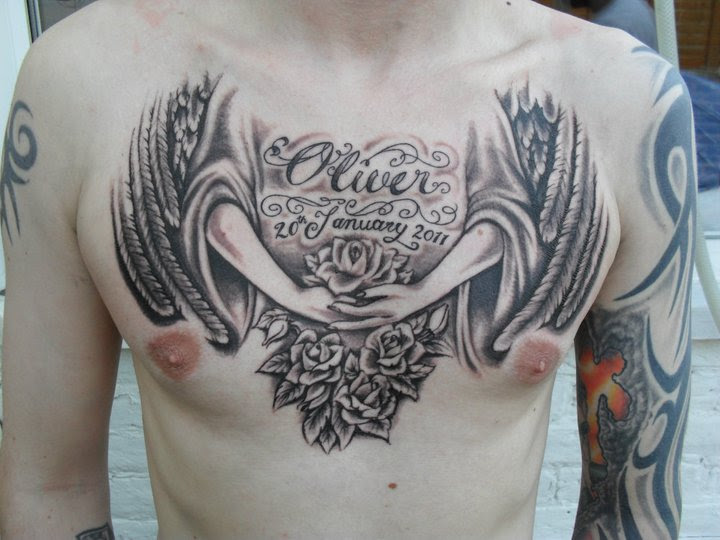 Memorial Angeland Rose Flowers Tattoo On Chest