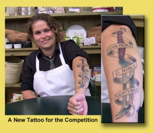 Jana Werner shows a new tattoo for the Cheesemonger Invitational