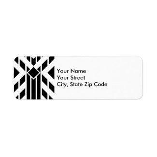 Black Quadrilateral Stripes on White address label
