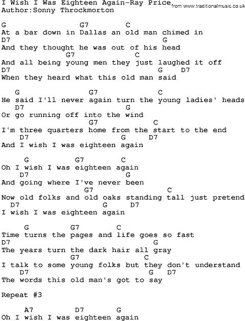 I Wish I Was Eighteen Again Lyrics Chords