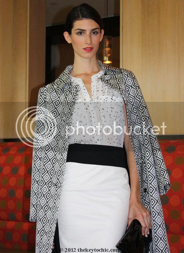 fall 2012 Prada graphic print coat, A.L.C. blouse, Robert Rodriguez skirt