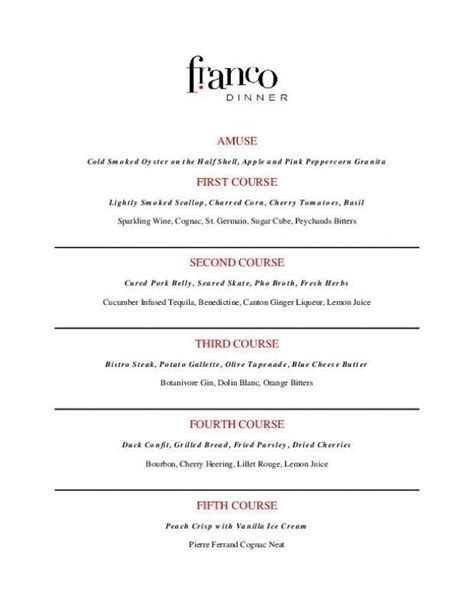 Franco's Five Course Cocktail Menu   Five Course Dinners