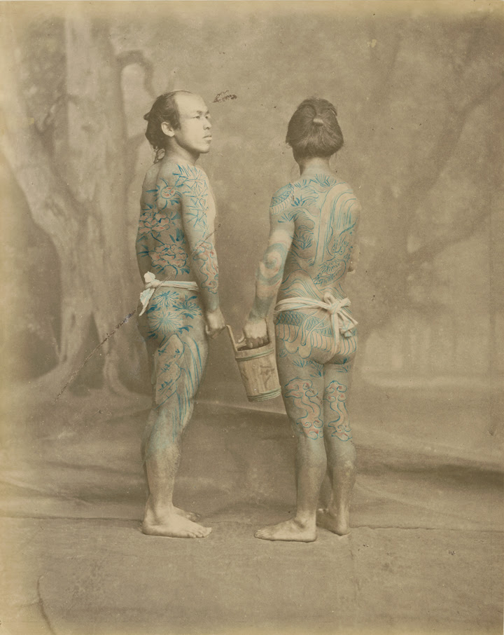 Felice Beato (1834-1907), Tattooed japanese men, ca. 1870. Hand-colored