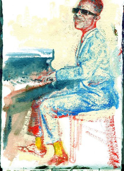 Little Stevie painting at the piano