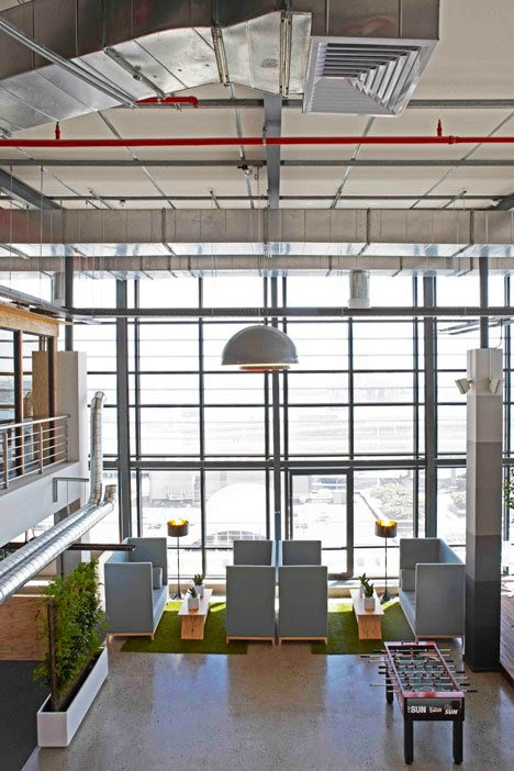 Inhouse Brand Architects offices waiting room in a shipping container