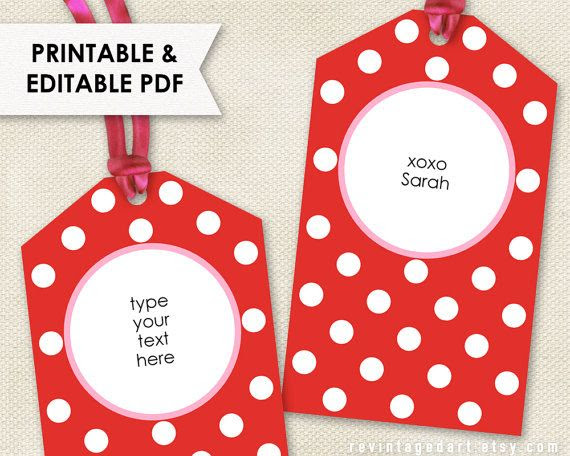 Printable Valentine Tags // Editable Red & Pink Tag PDF // Modern ...