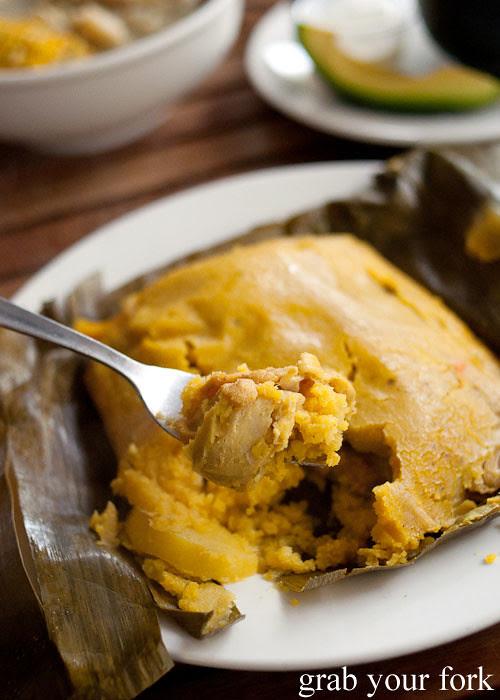 Chicken inside the tamale at Colombia Organik Sydney