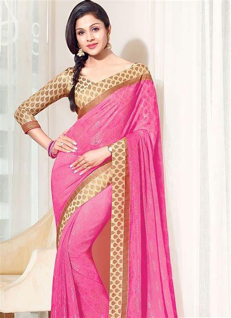 Faux Chiffon Pink Designer Saree @ http://www