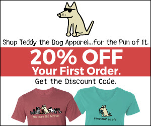 Shop Teddy The Dog Apparel. Save 20% off Your First Order when you sign up for Teddy's Email.  Sign Up Now!