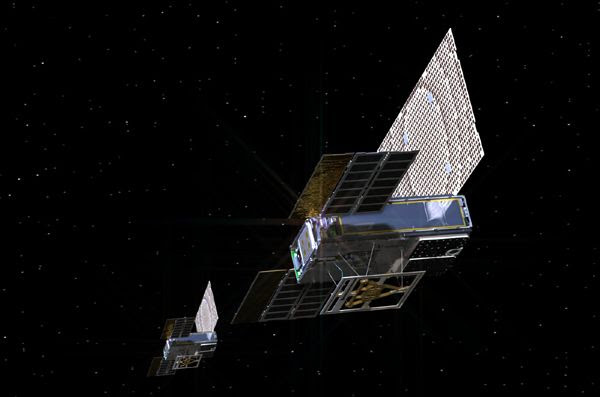 An artist's concept of the two MarCO CubeSats, 'WALL-E' and 'EVE,' flying through deep space.