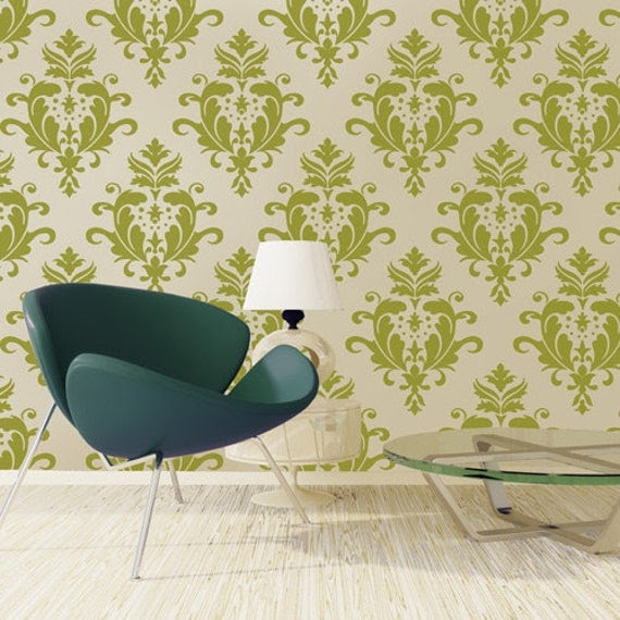 Damask stencil, reusable wall stencil, Acanthus Damask Size S/A4 7.5 x 9 inches