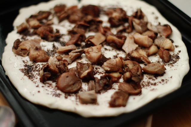 Black Truffle Pate & Mixed Mushrooms Pizza before Baking