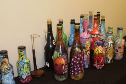 Painted Recycled Wine Bottles Junkmarket Style