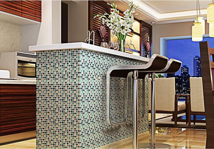 ceramic glass tile backsplash kitchen crackle crystal wall ...