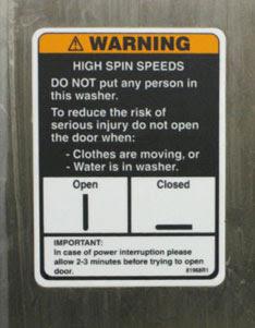 Washing Machine Warning Label