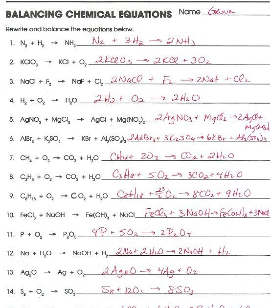 Balancing And Classifying Chemical Equations Worksheet ...