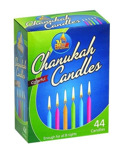 Colorful Chanukah Candles (44 Count)