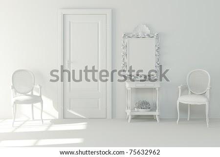 3d Interior Design - Clay Render Stock Photo 75632962 :