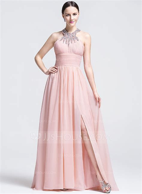 A Line/Princess Scoop Neck Sweep Train Evening Dress With