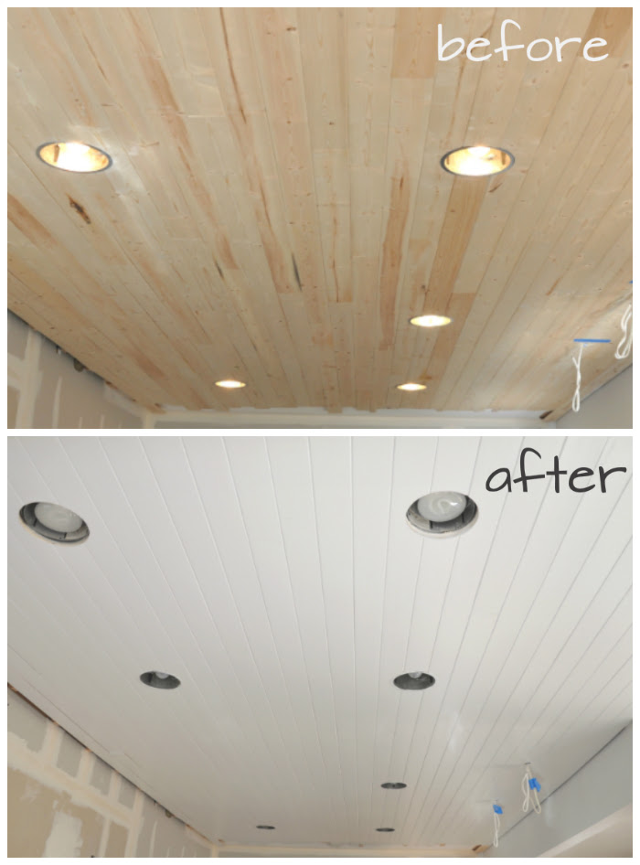 Diy How To Paint A Planked Ceiling For A Perfect Finish House Updated