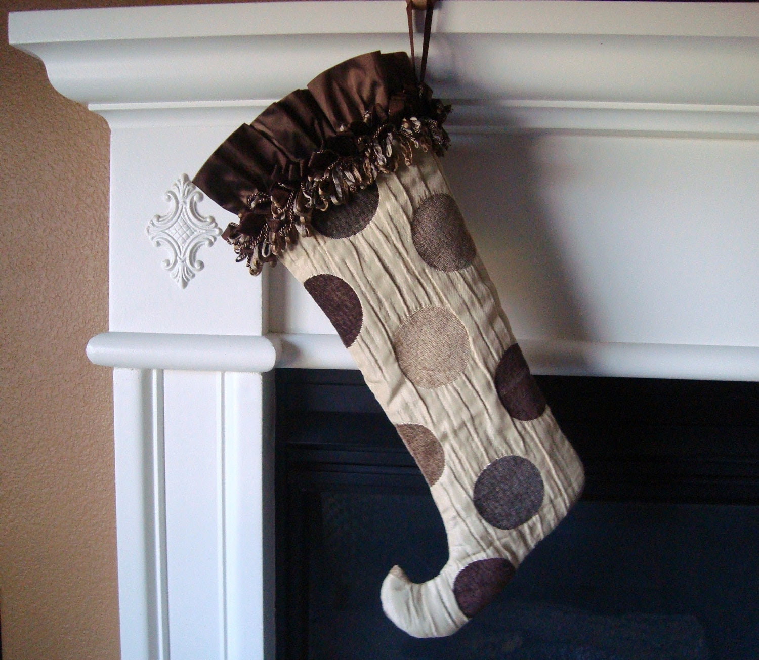Large Chenille Dot Christmas Holiday Stocking - Silk Lined with a Multi Loop Fringe Accent