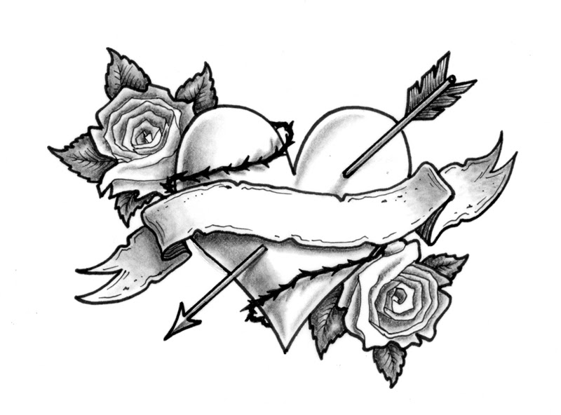 Banner With Heart Rose Tattoos Design