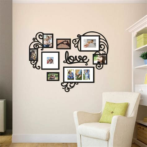 heart love collage photo picture frame set black wall art